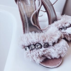 Dreamy Blush Furry Diamond studded High Heel